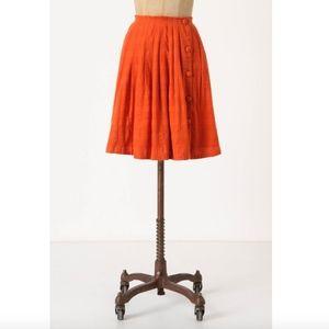 Postmark Anthropologie Darlene Dobby Orange Skirt